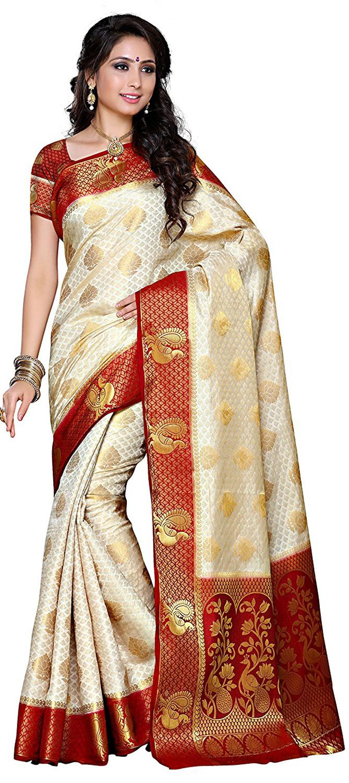 Kanjeevaram Silk Saree Grey Maroon Color Temple Jewellery