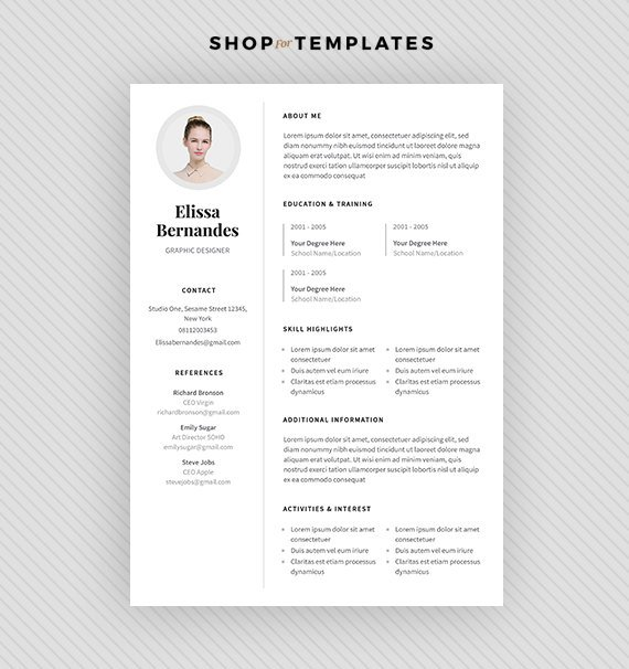 Resume Template / CV Template + Cover Letter For MS Word