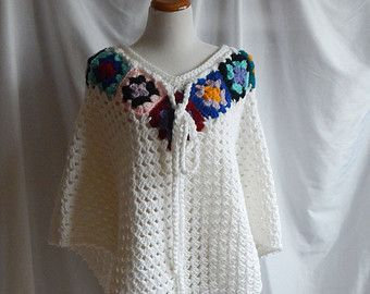 Crochet Poncho Shawl Granny Squares in Off by CrochetCluster