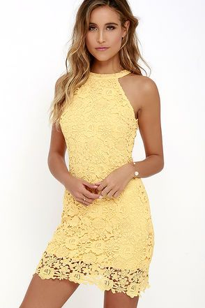 7ff2d75b91e1 You ll be collecting notes from secret admirers right and left when you don  the Love Poem Yellow Lace Dress! A lively pattern of floral lace creates an  ...