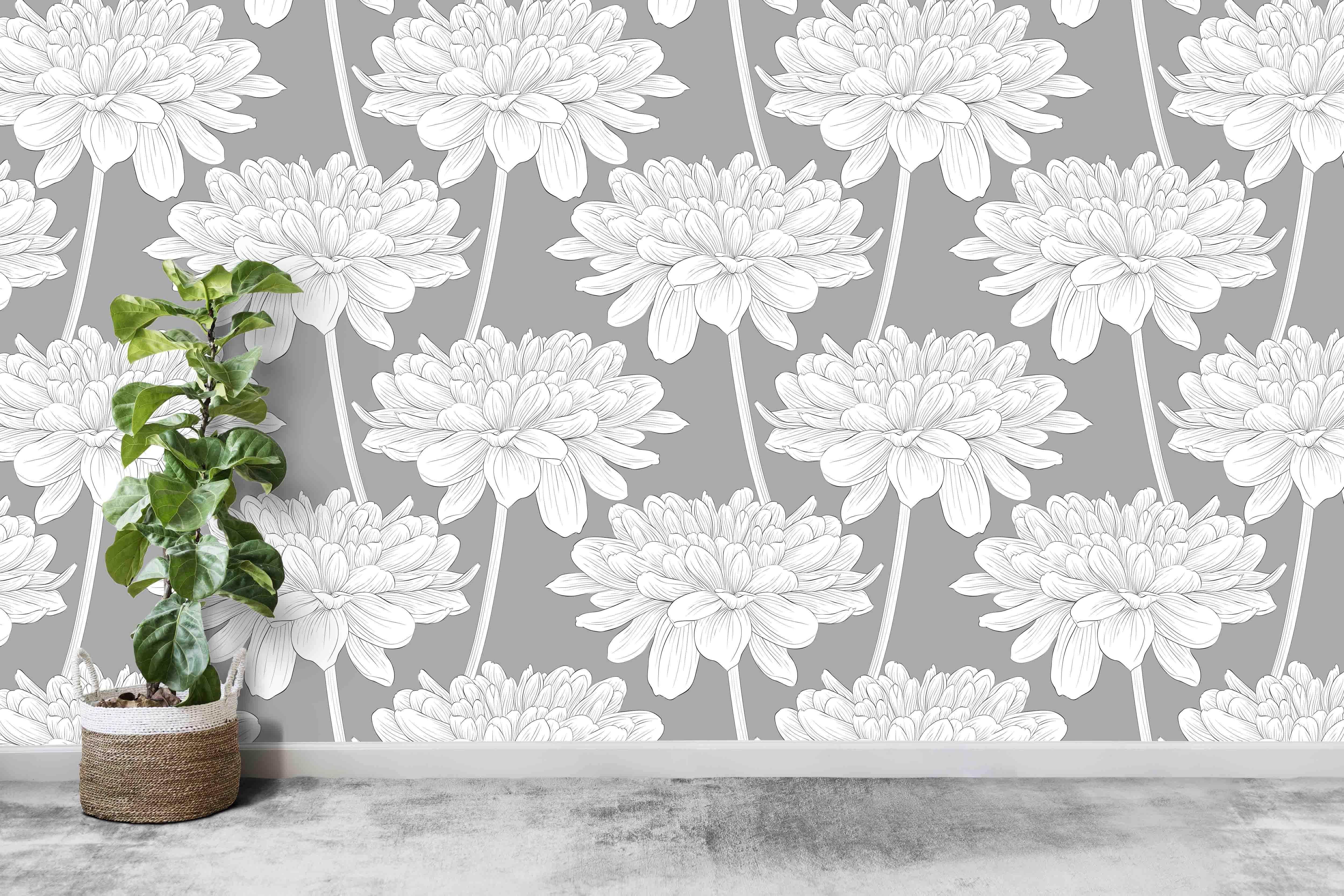 Grey Interior Home Decor Ideas Peel And Stick Wallpaper Mural Floral Wall Covering Floral Wallpaper Mural Wallpaper Floral Wall