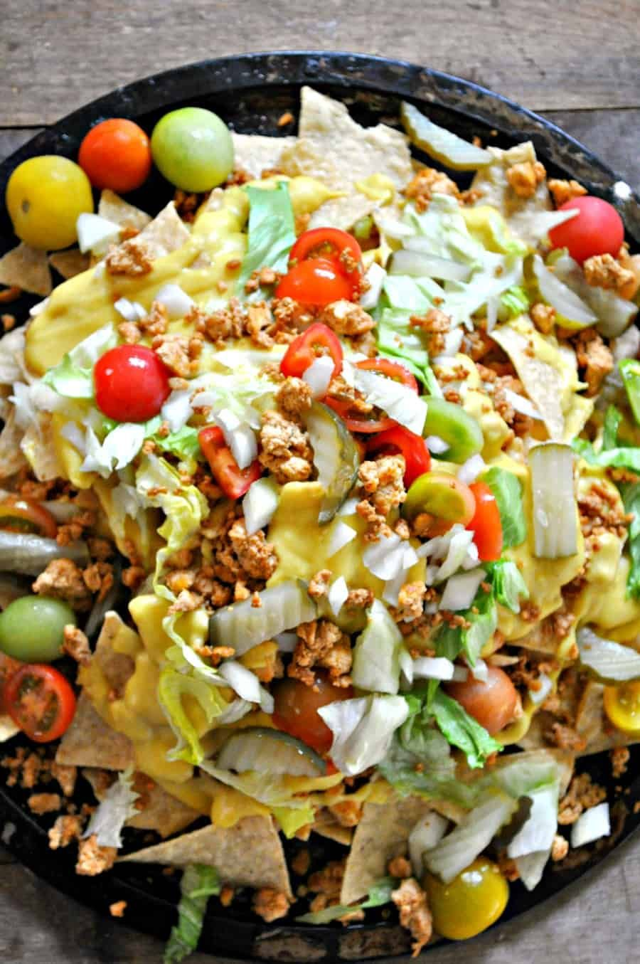 Vegan Cheeseburger Nachos Rabbit And Wolves Recipe In 2020 Vegan Cheeseburger Vegan Nachos Vegan Mexican Recipes