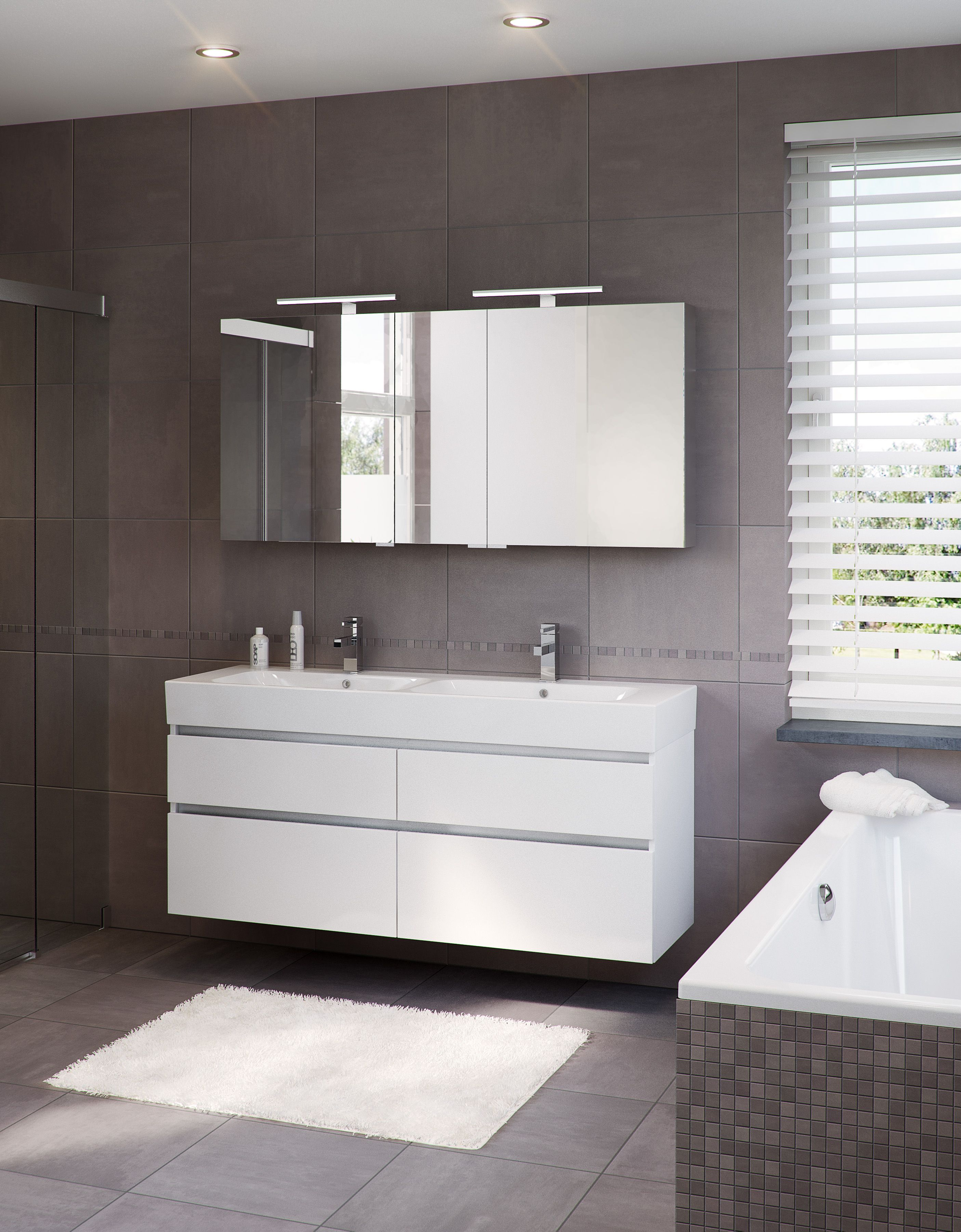 Bruynzeel Passo 120cm mat wit // badmeubel badkamer sanitair ...
