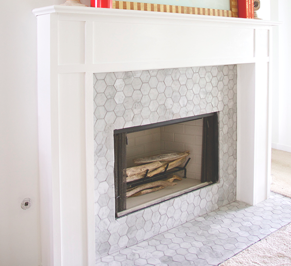 Hexagon mosaic tile and Tiled fireplace