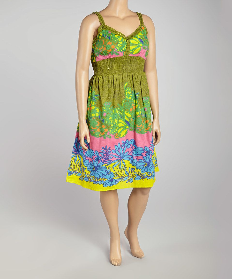 Lime u pink floral sleeveless dress by life and style fashions