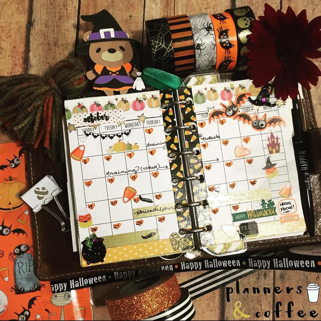 New post- Plan with Emmalee. Check out the supplies used for this spooky layout! http://bit.ly/PCpwe10 #plannersandcoffee #planner #planneraddict #filofax #washitape #stickers #halloween #fall
