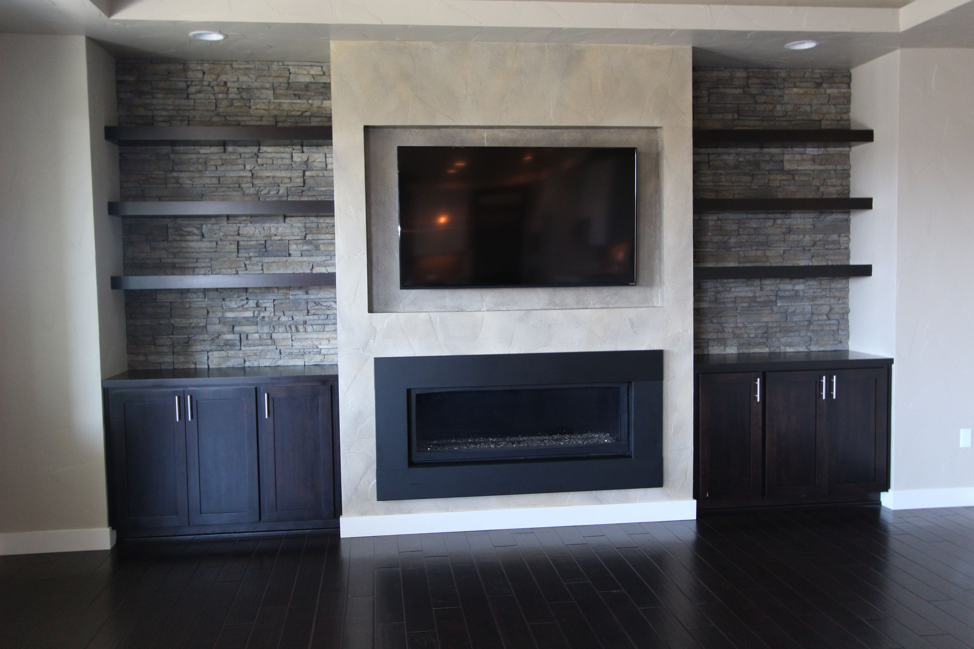 modern wood fireplace and tv | ... shelves tv above the ...