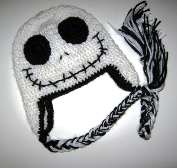 Crochet Skull Halloween hat with Ear Flaps 6 to by JessikiReeve ...