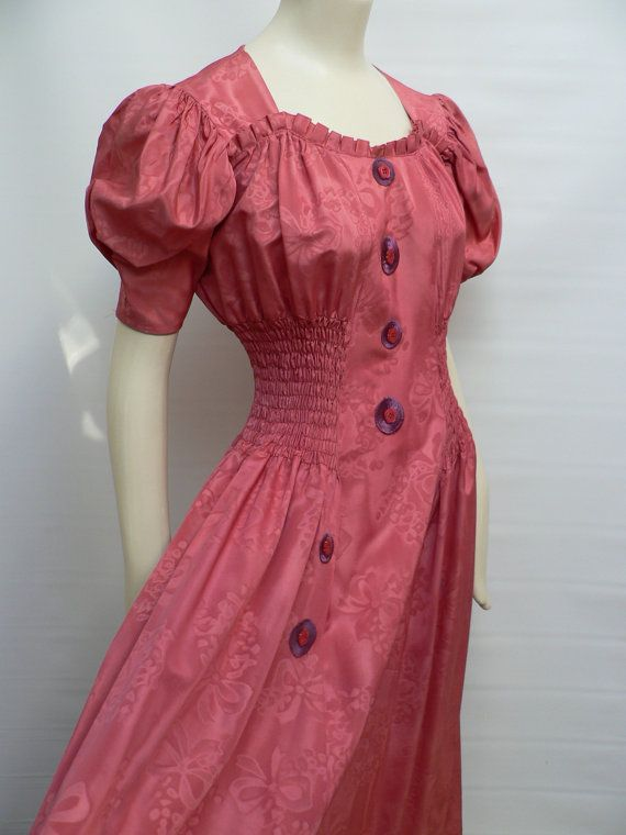 Vintage 1930s Belted Jacket and Dress XXSXS 1930s 3 Piece Pink Taffeta Gown