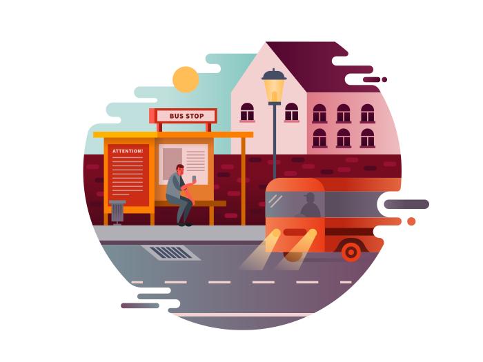 Bus Stop Illustration Kit8 Bus Stop Design Bus Stop Transport Illustration