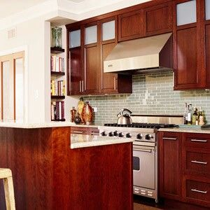 Love The Green Gl Backsplash With Cherry Cabinetry