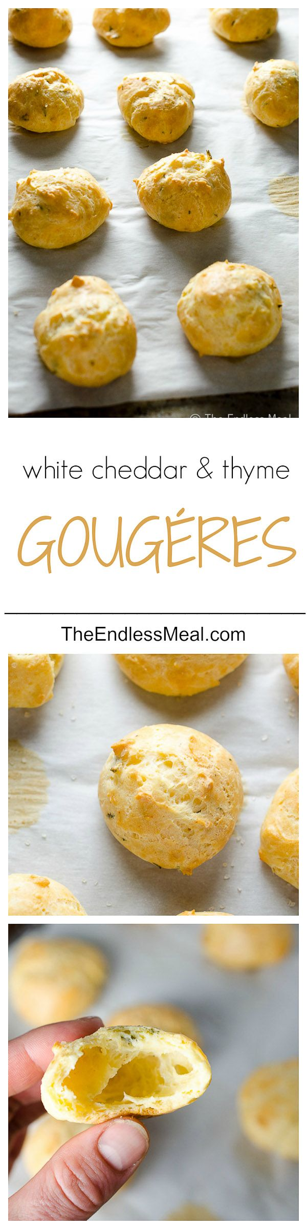 White Cheddar and Thyme Gougères with Smoked Maldon Sea