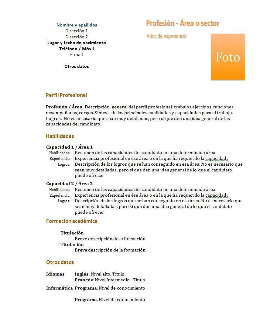 Curriculum Vitae Sin Experiencia Word En 2020 Modelos De