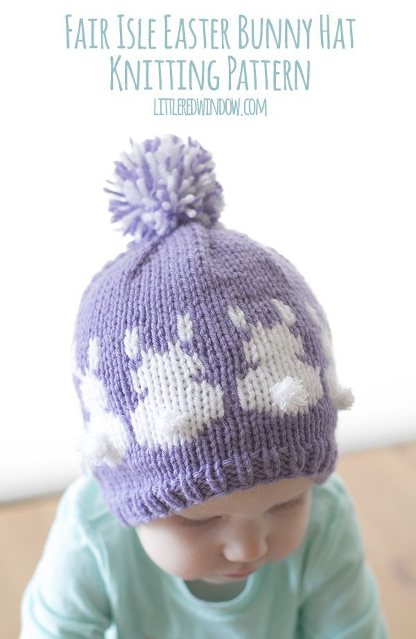 Easter Bunny Hat Fair Isle Knitting Pattern | Bunny hat, Fair ...
