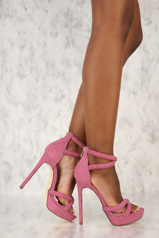 3f706a36a Pink Criss Cross Strappy Open Toe High Heels Faux Suede in 2019 ...
