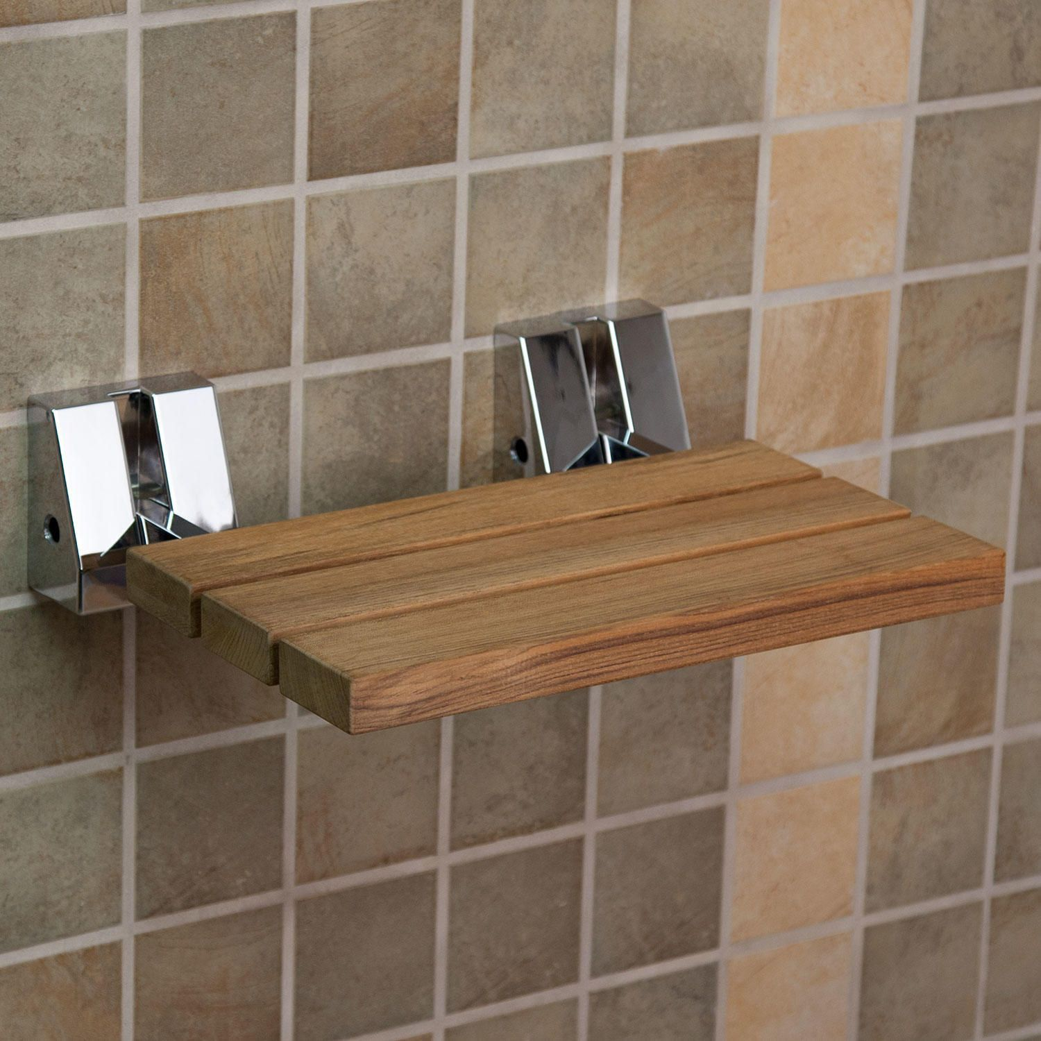 Wall-Mount Teak Folding Shower Seat | Shower seat, Teak and Wall mount