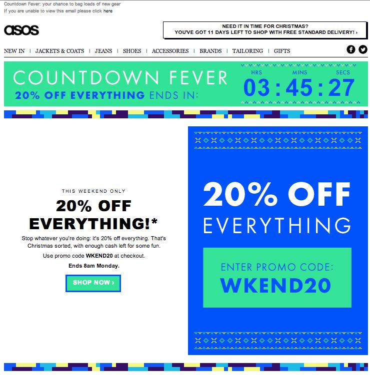 06a8a030209 ASOS used a live animated countdown clock in this email to show how much  time remained until the end of a sale.  emailmarketing  retail   countdownclock