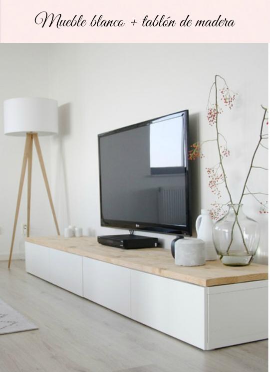 Mesita o estanteria ikea blanco con tablero de madera - Muebles de salon originales ...