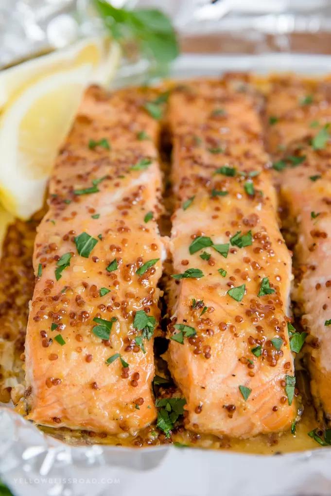 Baked Honey Mustard Salmon Recipe   20 Minutes   YellowBlissRoad.com