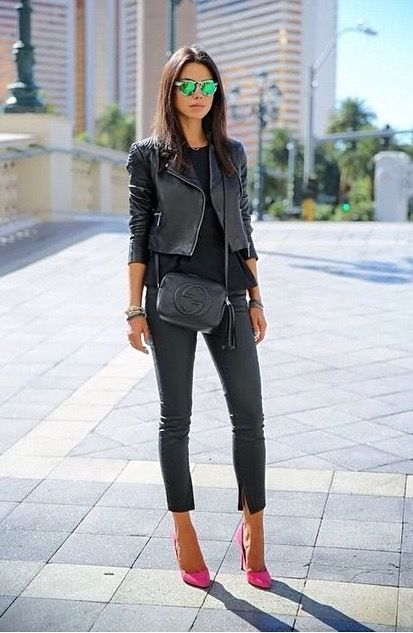 Casual all black outfit with a pop of colour