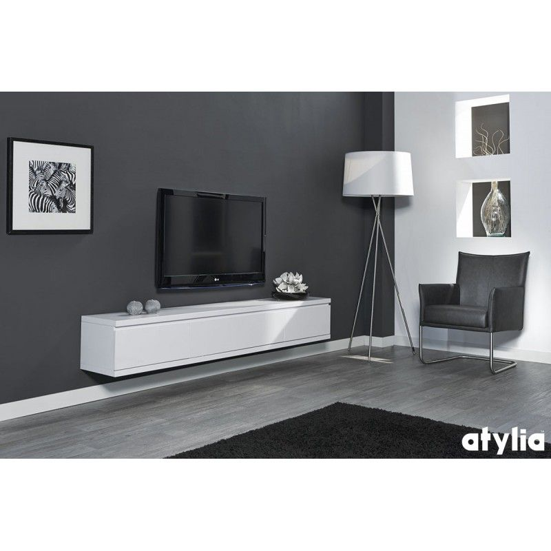 Meuble TV design suspendu Flow ATYLIA  Salon tv  Pinterest  Salons -> Meuble Télé Suspendu