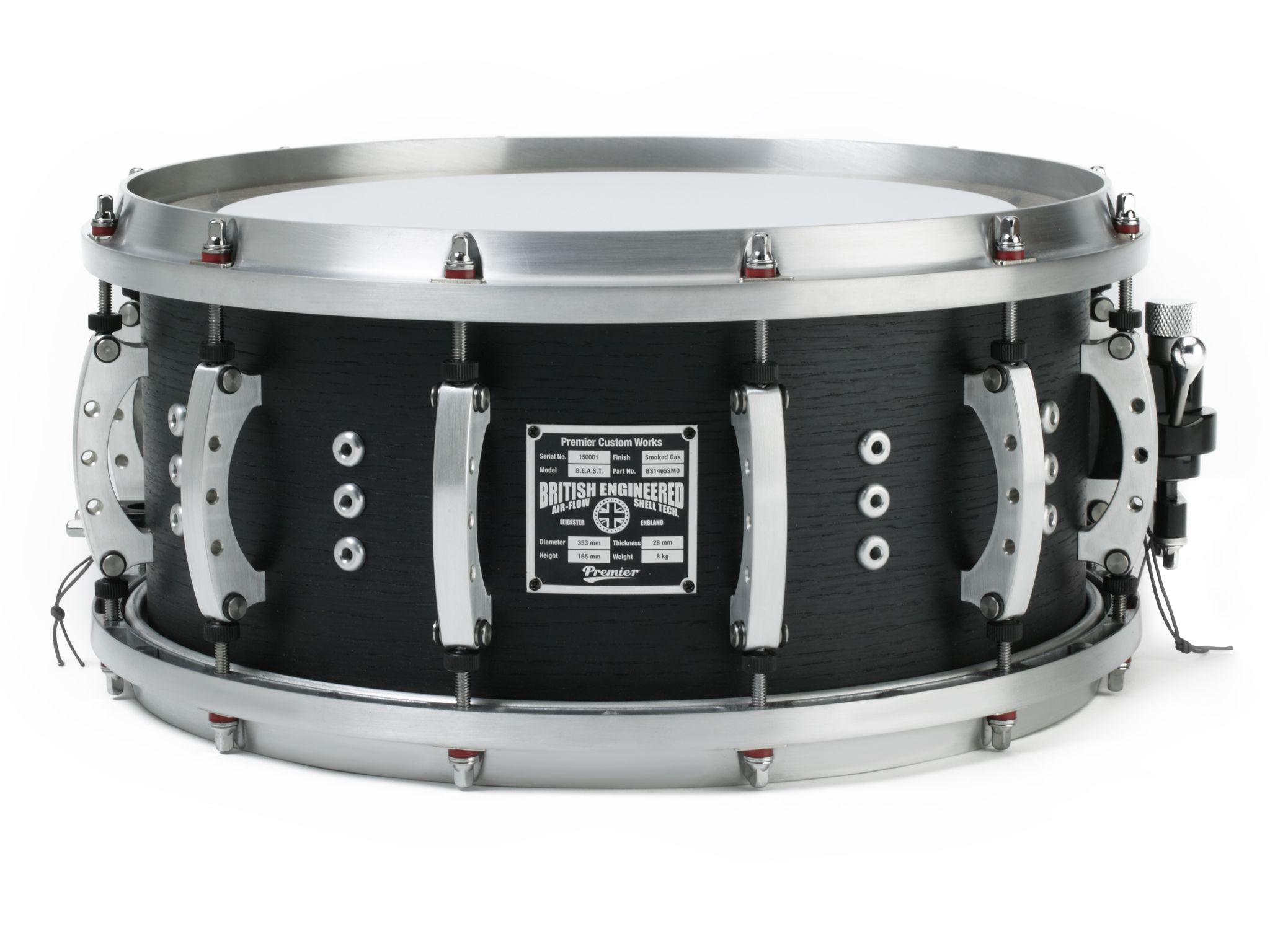 Premier 14 X 5 Beast Snare Drum Solid Aluminum Lugs With
