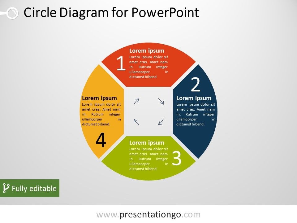 4 Part Circle Powerpoint Diagram Presentationgo Powerpoint