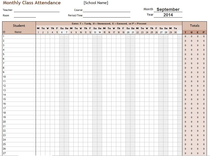 School Attendance List Templates  Free Word Excel  Pdf