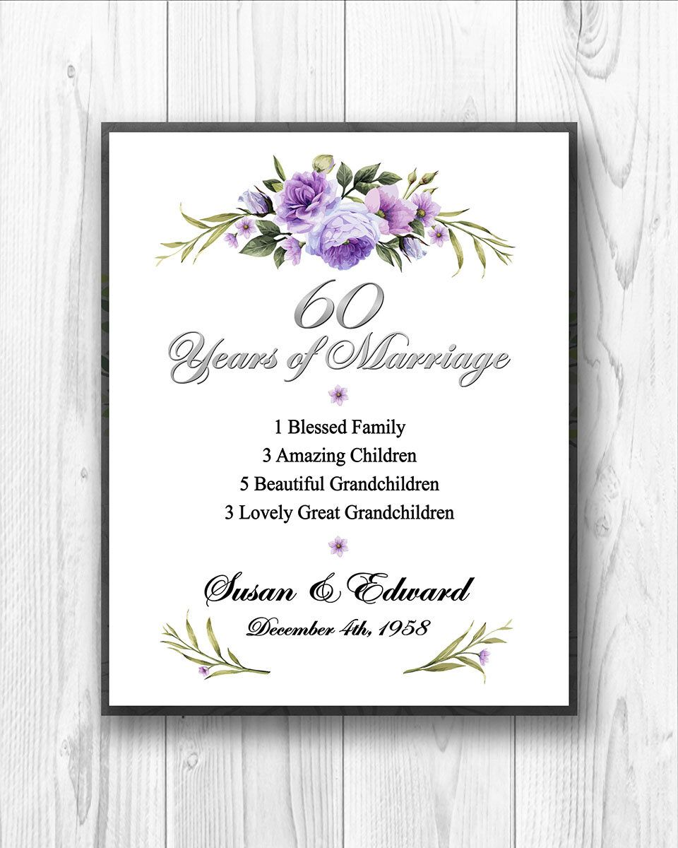 Ideas For 60th Wedding Anniversary Gifts For Parents: 60th Anniversary Gift, 60 Years Anniversary Gift For