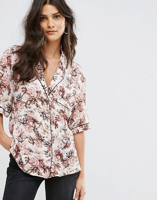 348b947b5651 Mango Floral Print Piped Pajama Blouse   Snehal   Dresses, Floral ...