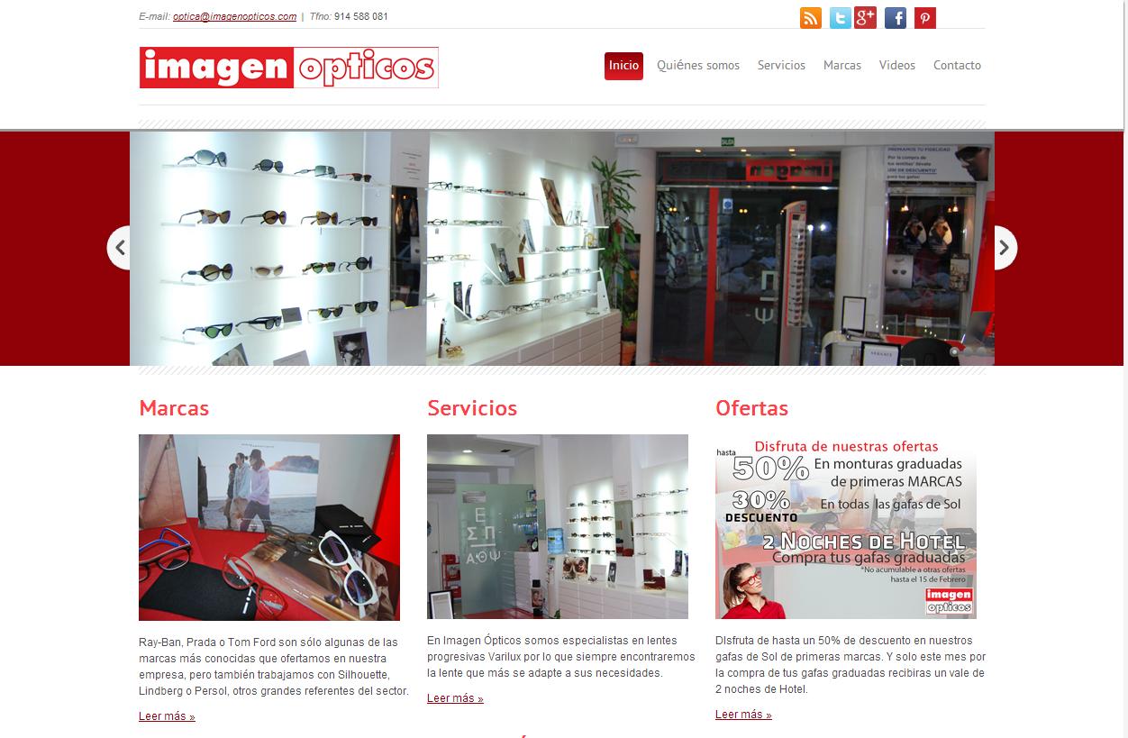 Otro de nuestros clientes. En este caso se trata de una tienda: http://www.imagenopticos.com/