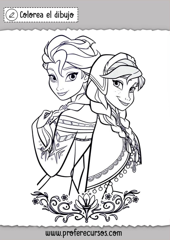 Ana Y Elsa Princesas Disney Colorear Dibujos De Frozen Frozen Para Colorear Tarjetas Disney