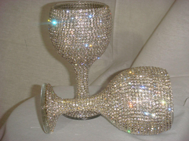 wedding wine glasses Custom Made Wine Glasses Wedding Flutes Bridesmaids by Arzus