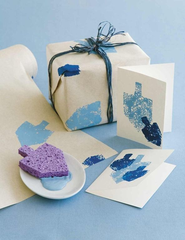 Chanukah Envelope..elegant sponge painting for making diy cards and wrapping paper