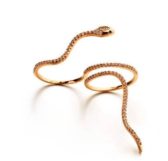 Photo of Snake ring, rose gold ring, Swarovski ring, statement ring, rose gold snake ring
