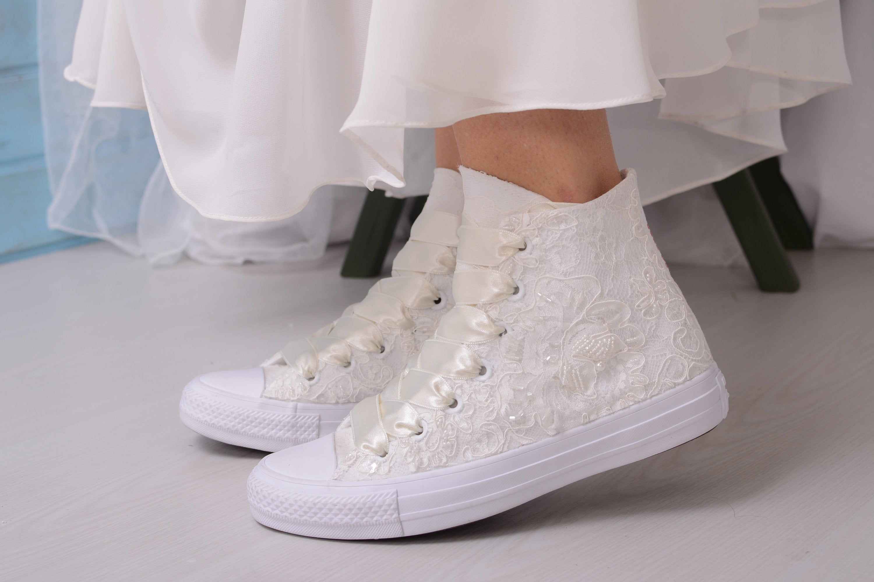 Luxory Ivory Wedding Converse For Bride
