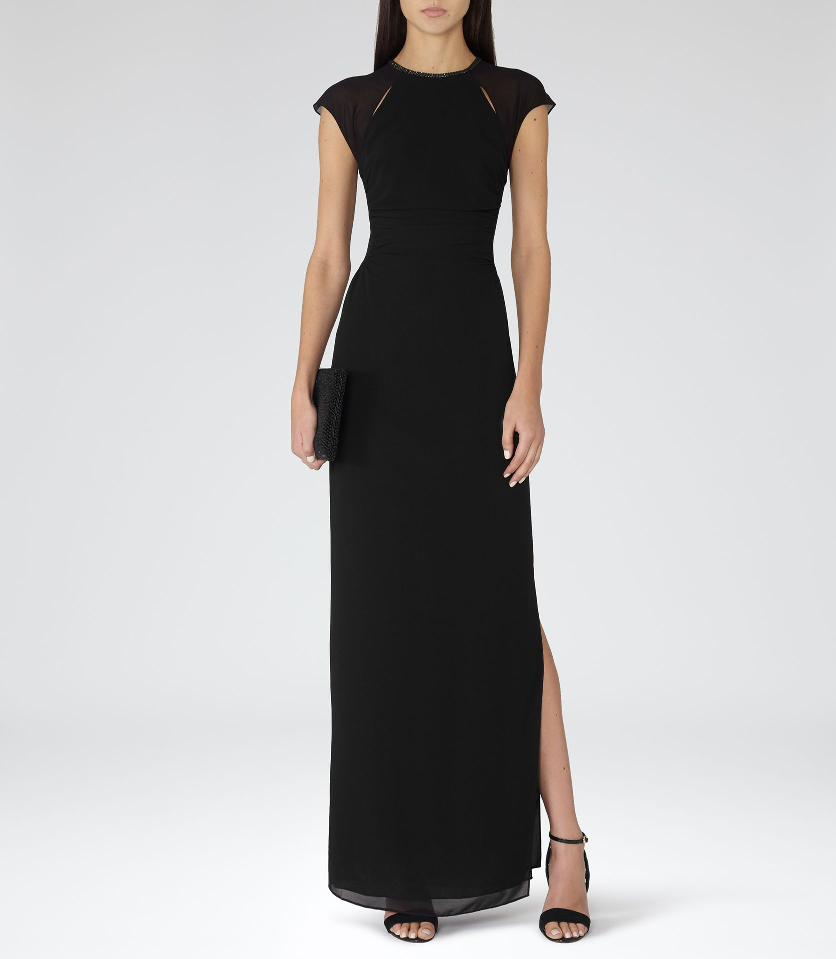 Womens Black Embellished Maxi Dress - Reiss Alondra | Coverings ...