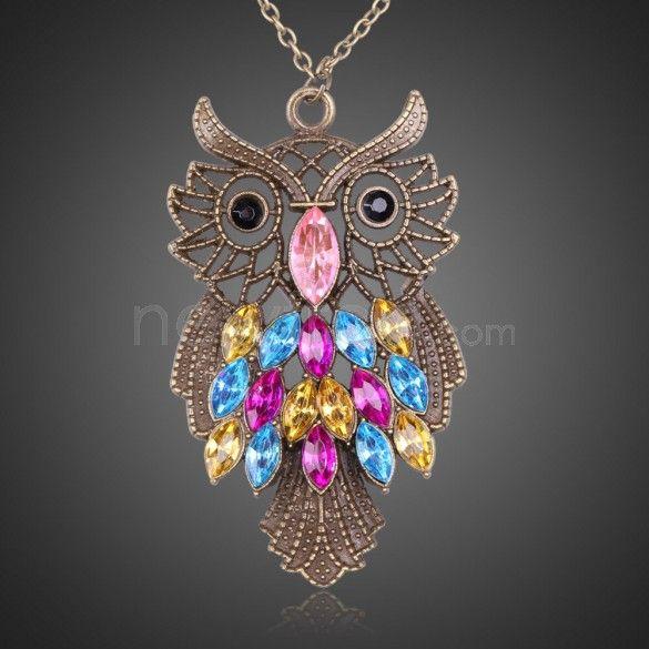 Fashion Retro Style Colorful Rhinestone Owl Pendant Necklace Sweater Chain