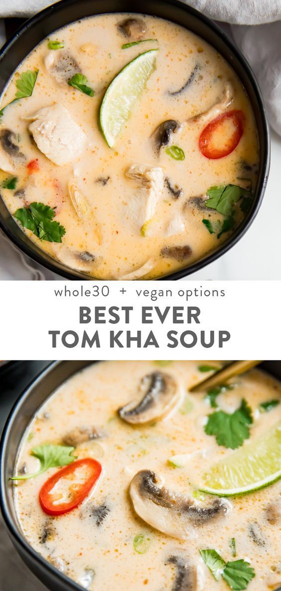 Photo of La mejor sopa de Tom Kha Gai (sopa de pollo con coco tailandés, Whole30, Paleo)