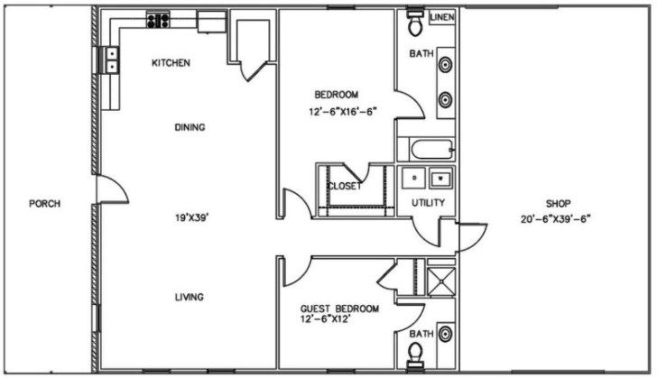 One Bedroom Shop With Living Quarter Shop With Living Quarters Shop House Plans Metal Shop Building