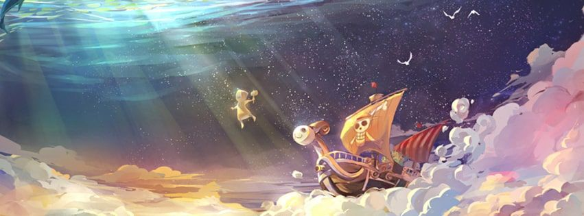 Anime One Piece The Merry Under The Ocean Facebook Cover Anime One Anime Cute Twitter Headers