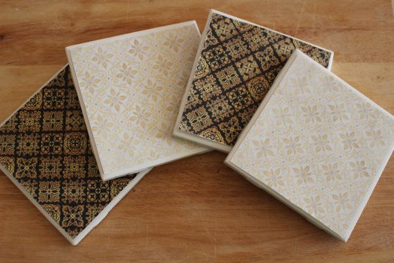 Black Gold and White Damask Coasters  by loveofcoasterdesigns