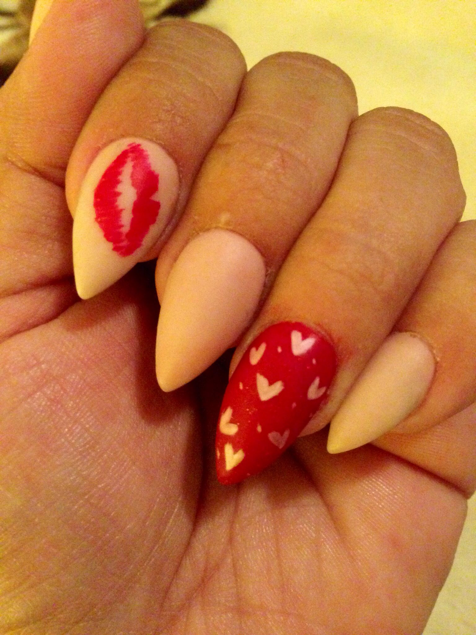 Pink Matte Hearts Red Lips Valentine S Day Stiletto Nails