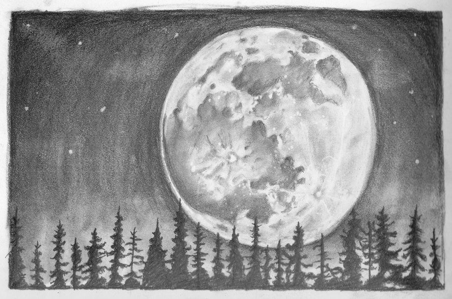 Смешные школьные, рисунок луна карандашом
