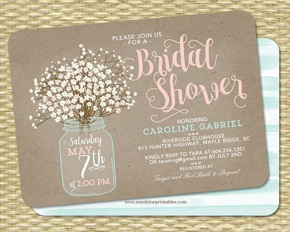 Rustic Bridal Shower Invitation Kraft Mason Jar and Babys Breath