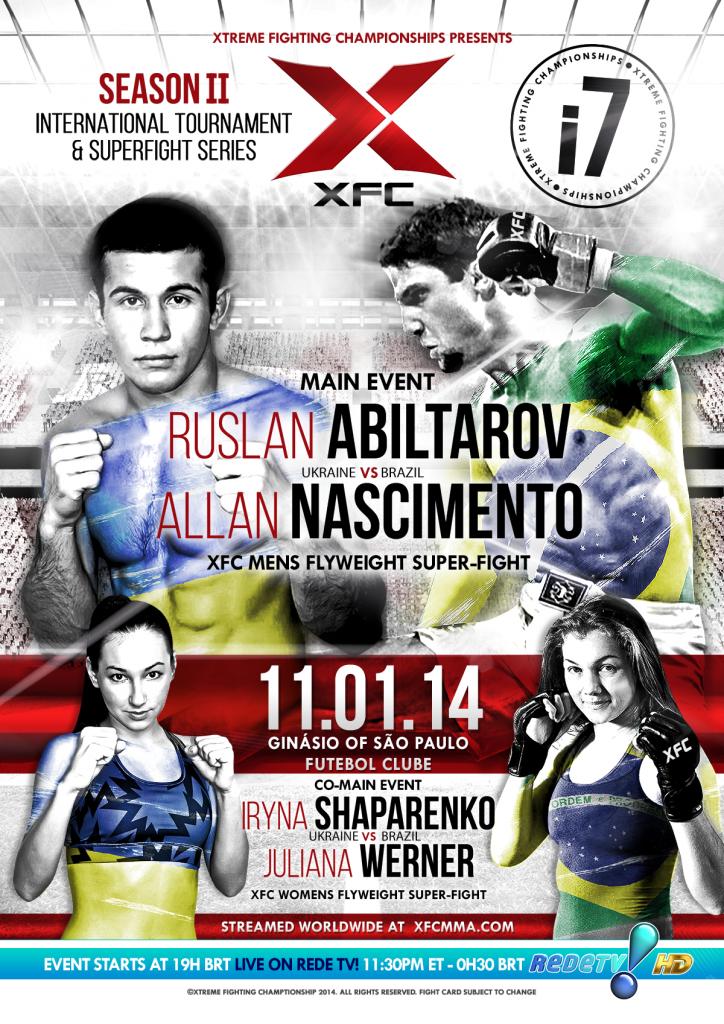 XFCi 7 November 1st 2014 Live on RedeTV! at Ginasio of Sao Paulo Futebol Clube #XFC #MMA #fall #superfight #tournament #WMMA #mainevent #XFCi7 #Brazil
