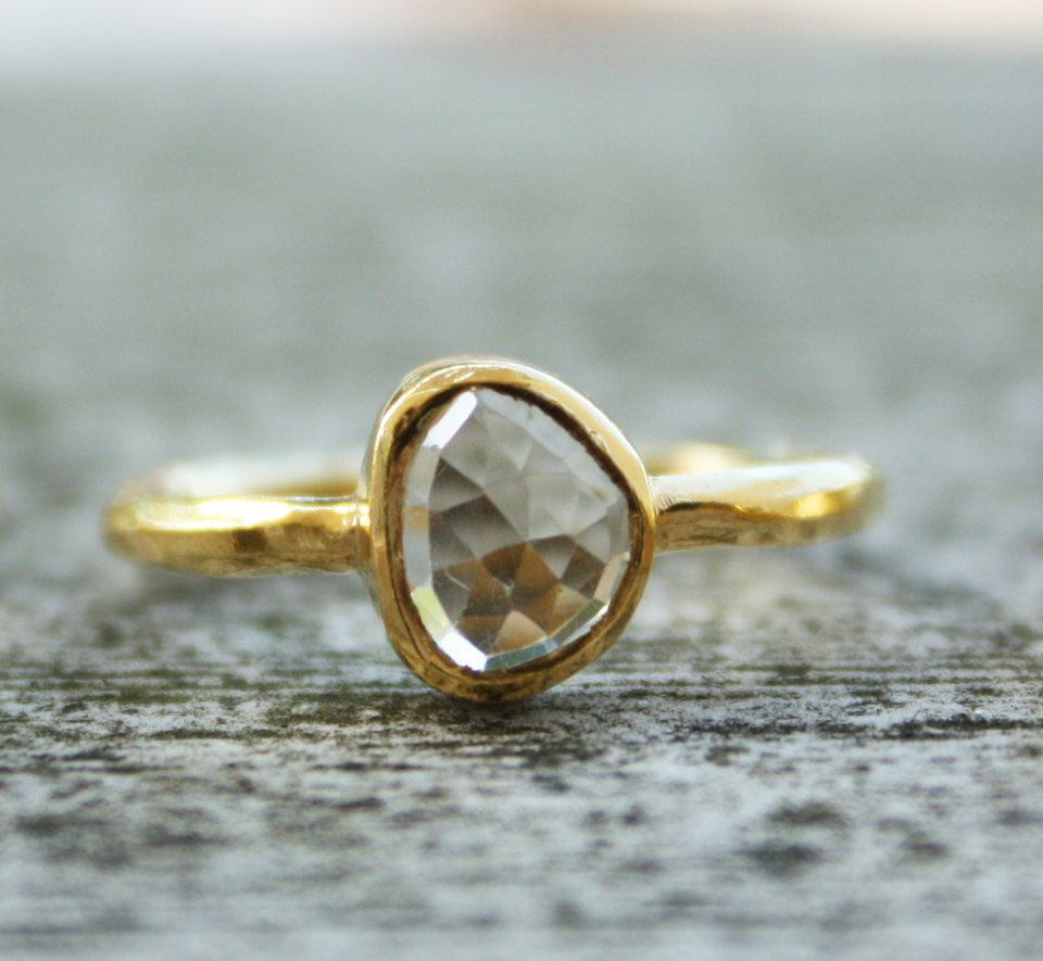 Gold Champagne Citrine Ring - Round Cut - Stacking Ring. $57.00, via Etsy.