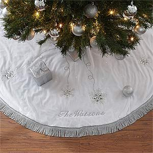 love the beautiful white and silver design of this seasons sparkle personalized christmas tree - White Christmas Tree Skirt