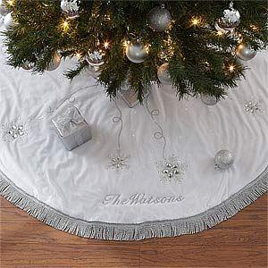 Season's Sparkle Embroidered Tree Skirt | Tree skirts, Christmas ...