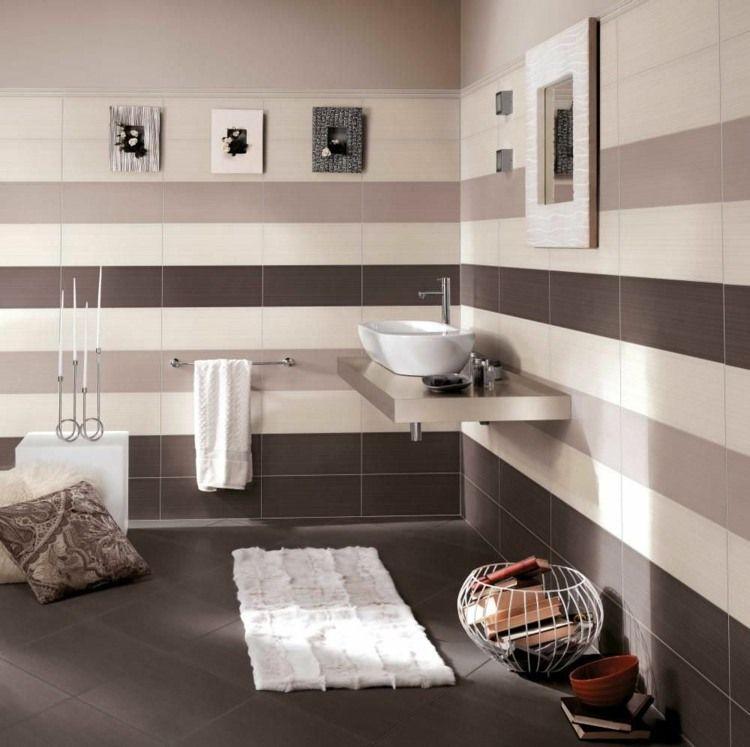 couleur salle de bain sobre carrelage taupe gris et blanc